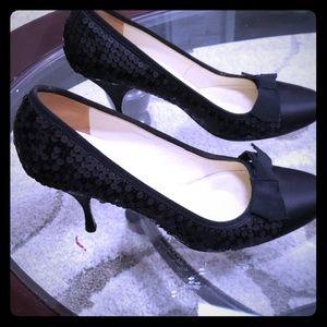 PRADA size 38 (8) black sequined &satin heels